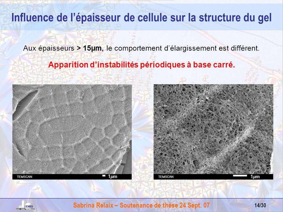 Influence de l'épaisseur de cellule sur la structure du gel