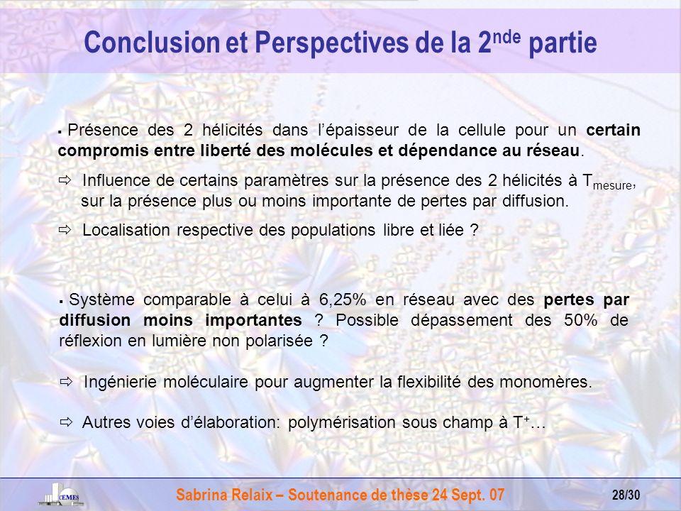 Conclusion et Perspectives de la 2nde partie