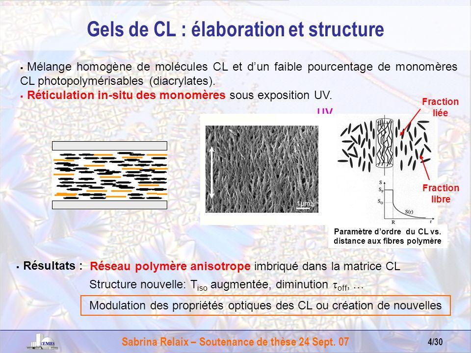 Gels de CL : élaboration et structure