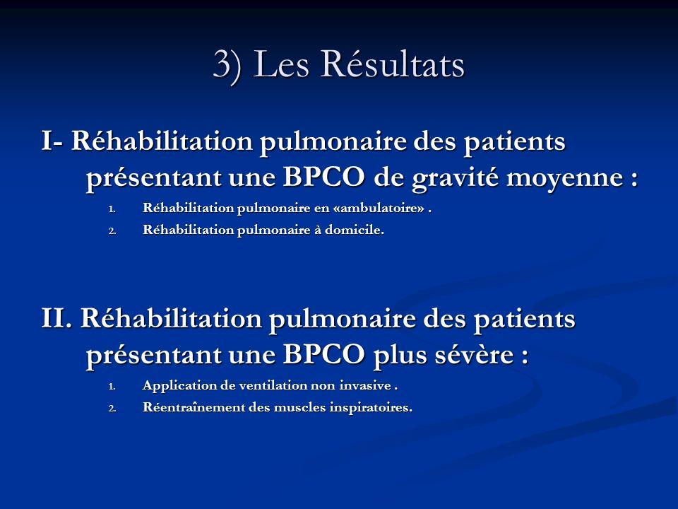 3) Les Résultats I- Réhabilitation pulmonaire des patients présentant une BPCO de gravité moyenne :