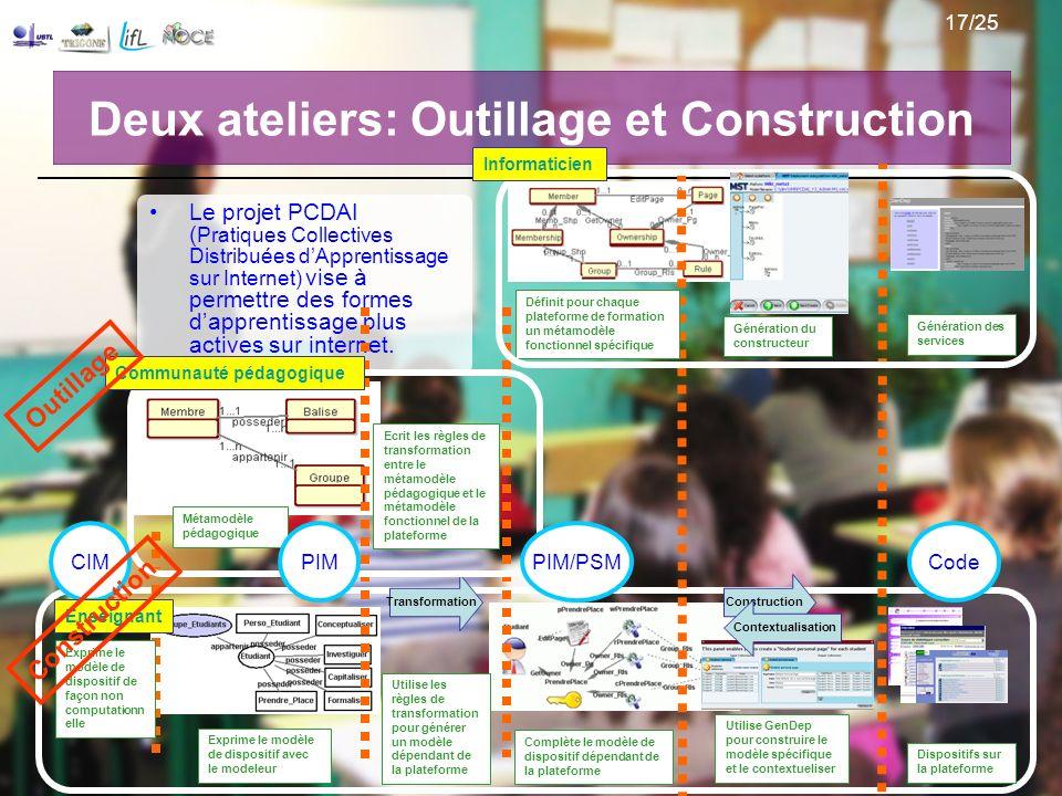 Deux ateliers: Outillage et Construction