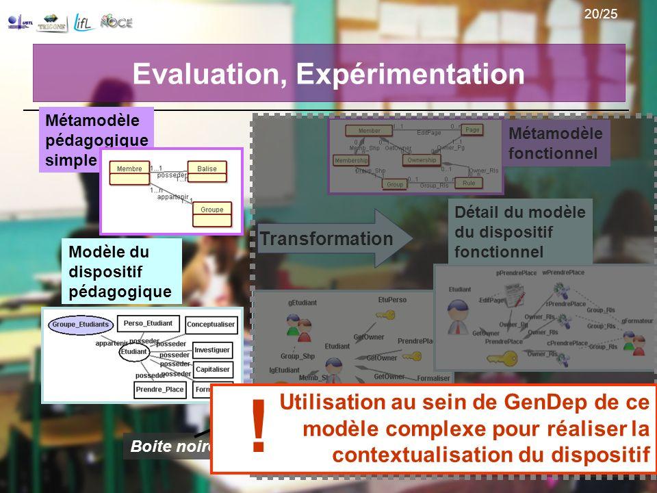 Evaluation, Expérimentation