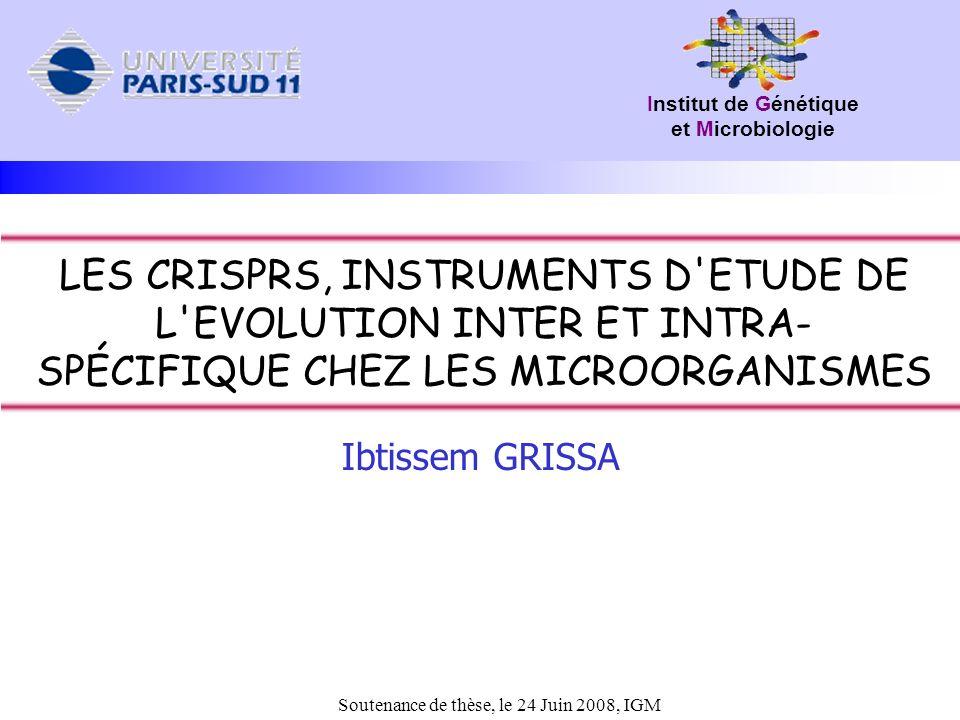 LES CRISPRS, INSTRUMENTS D ETUDE DE L EVOLUTION INTER ET INTRA-SPÉCIFIQUE CHEZ LES MICROORGANISMES