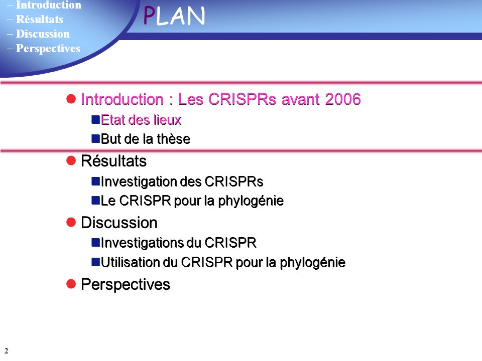 PLAN Introduction : Les CRISPRs avant 2006