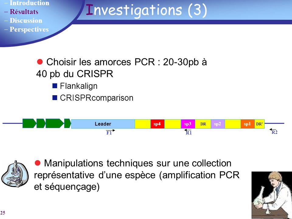 Investigations (3) Choisir les amorces PCR : 20-30pb à 40 pb du CRISPR