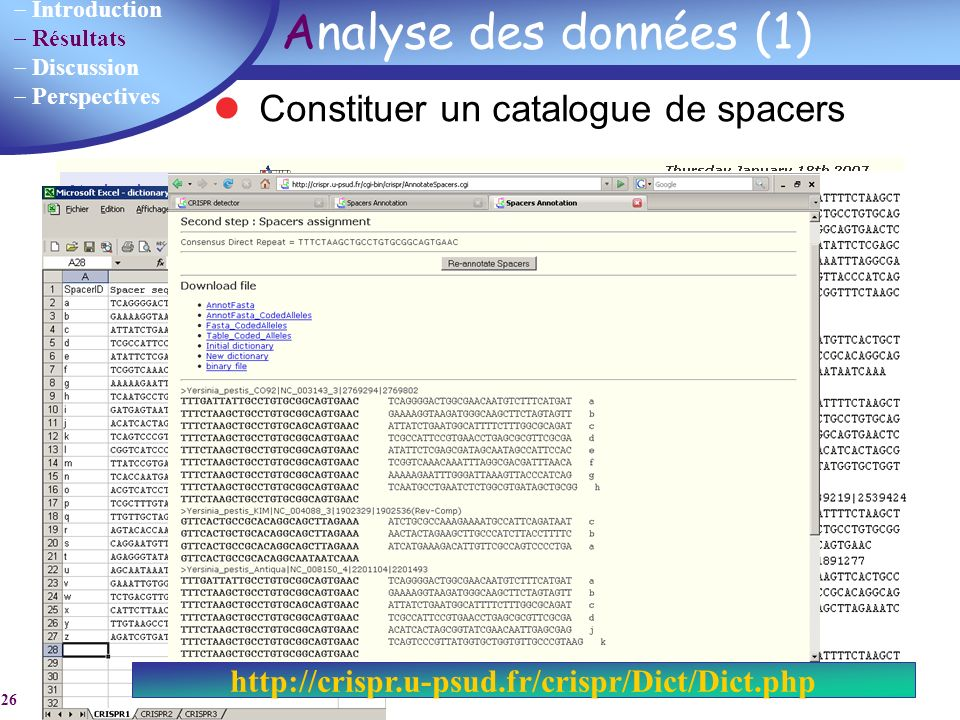 Analyse des données (1) Constituer un catalogue de spacers