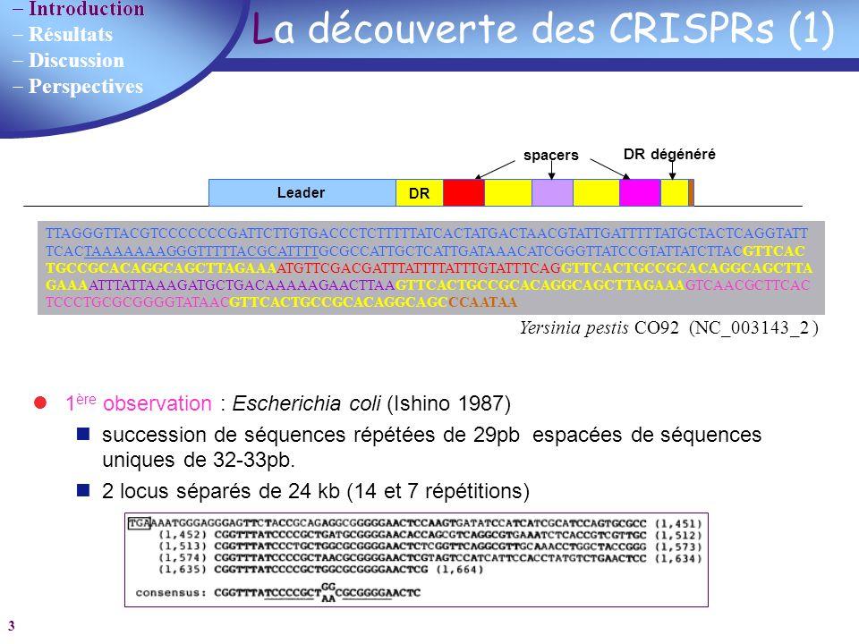 La découverte des CRISPRs (1)
