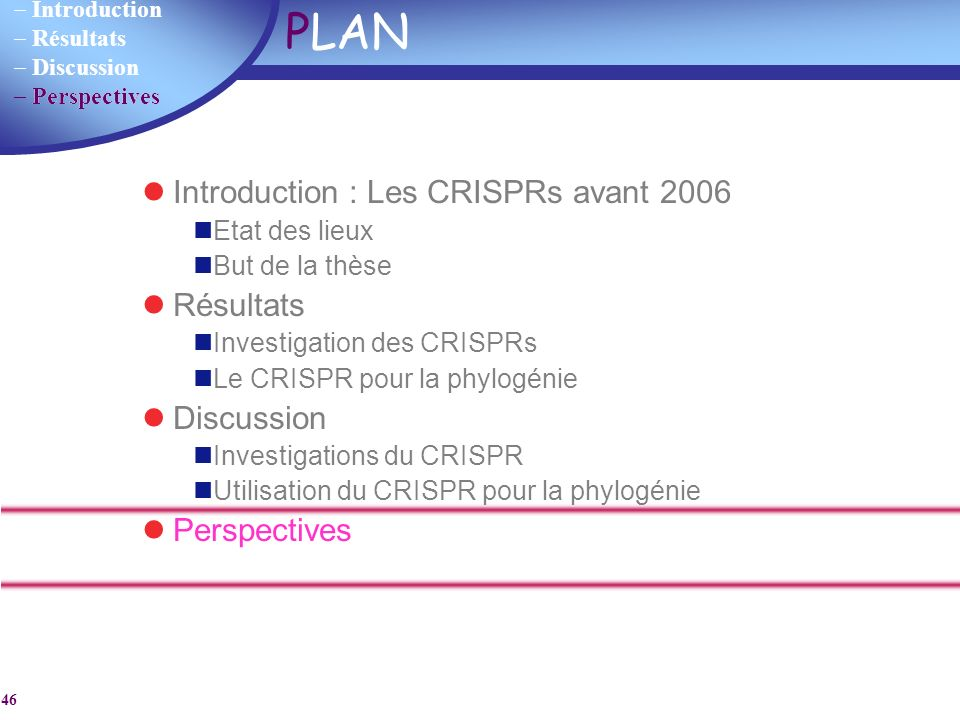 PLAN Introduction : Les CRISPRs avant 2006 Résultats Discussion
