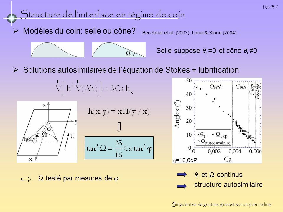 Structure de l'interface en régime de coin