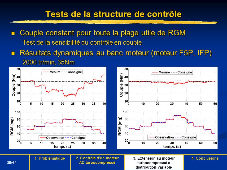 Tests de la structure de contrôle
