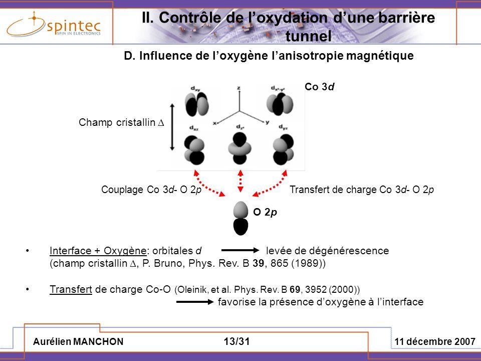 II. Contrôle de l'oxydation d'une barrière tunnel