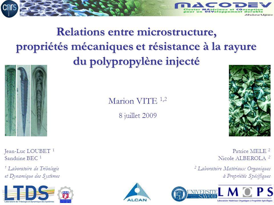 Relations entre microstructure, propriétés mécaniques et résistance à la rayure du polypropylène injecté