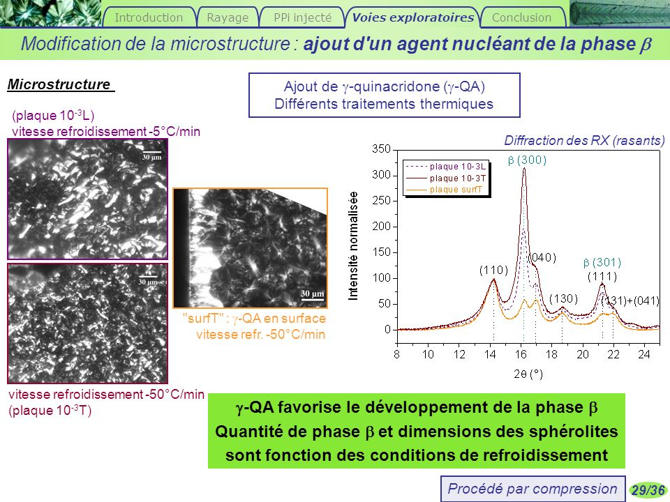 Introduction Rayage. PPi injecté. Voies exploratoires. Conclusion. Modification de la microstructure : ajout d un agent nucléant de la phase b.