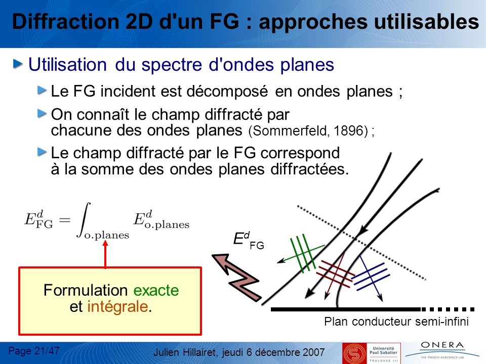 Diffraction 2D d un FG : approches utilisables