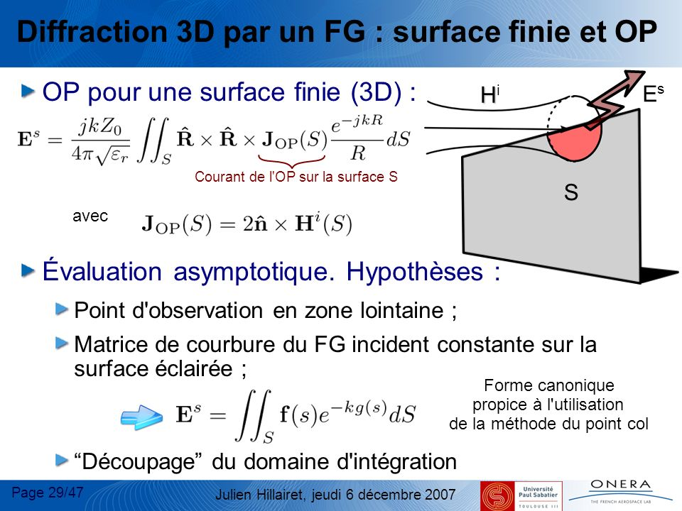 Diffraction 3D par un FG : surface finie et OP