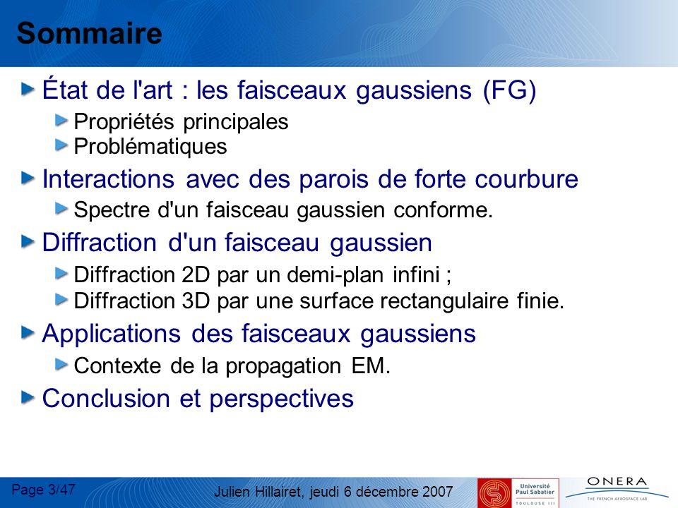 Sommaire État de l art : les faisceaux gaussiens (FG)