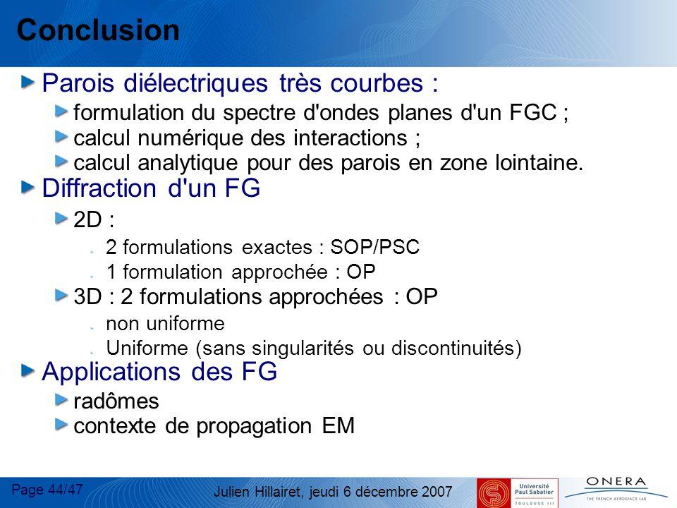 Conclusion Parois diélectriques très courbes : Diffraction d un FG