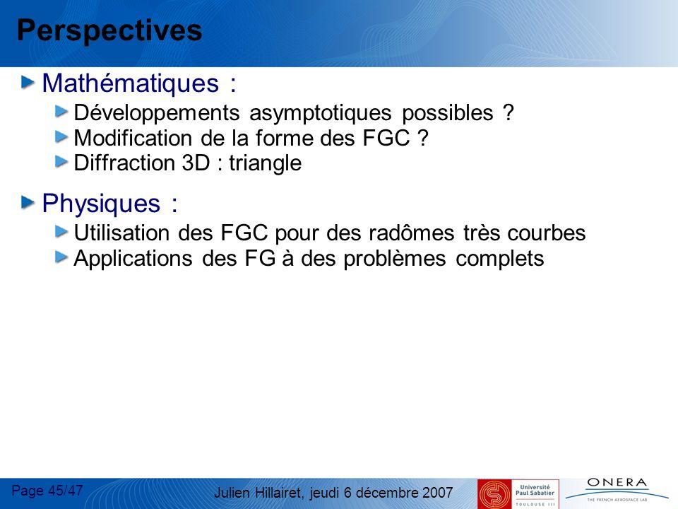 Perspectives Mathématiques : Physiques :