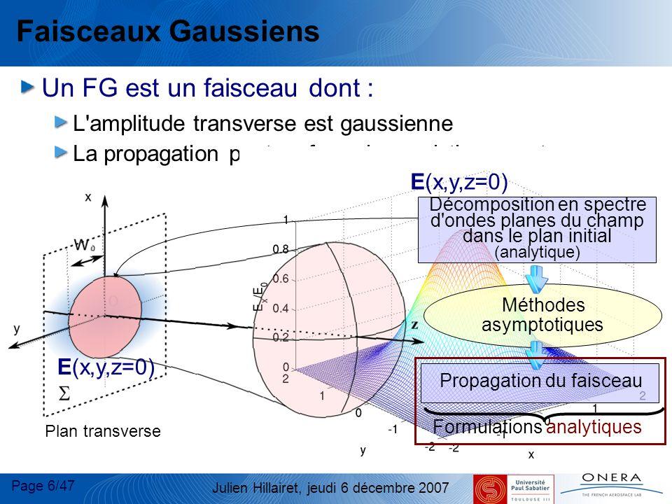 Faisceaux Gaussiens Un FG est un faisceau dont :