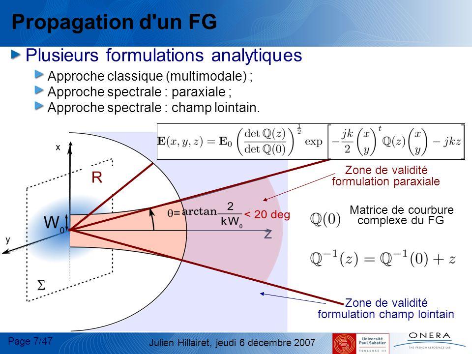 Propagation d un FG Plusieurs formulations analytiques R z