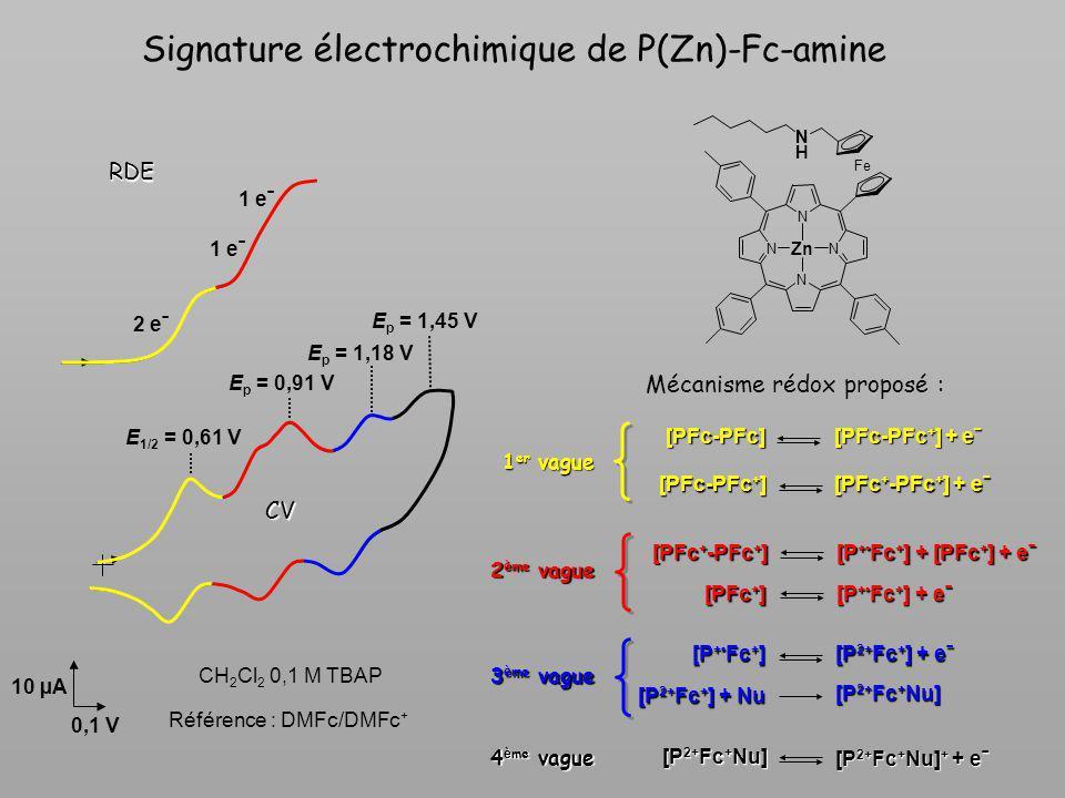 Signature électrochimique de P(Zn)-Fc-amine