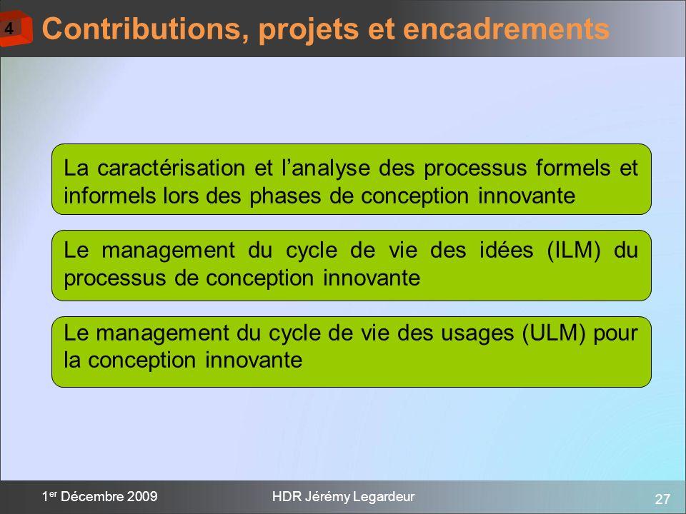 Contributions, projets et encadrements