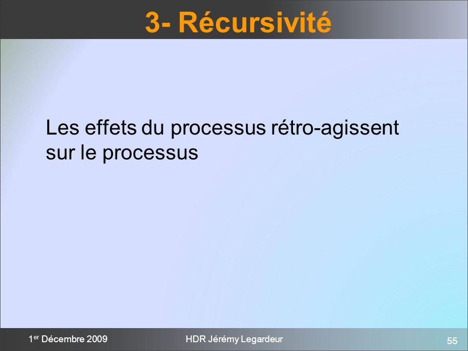 3- Récursivité Les effets du processus rétro-agissent sur le processus