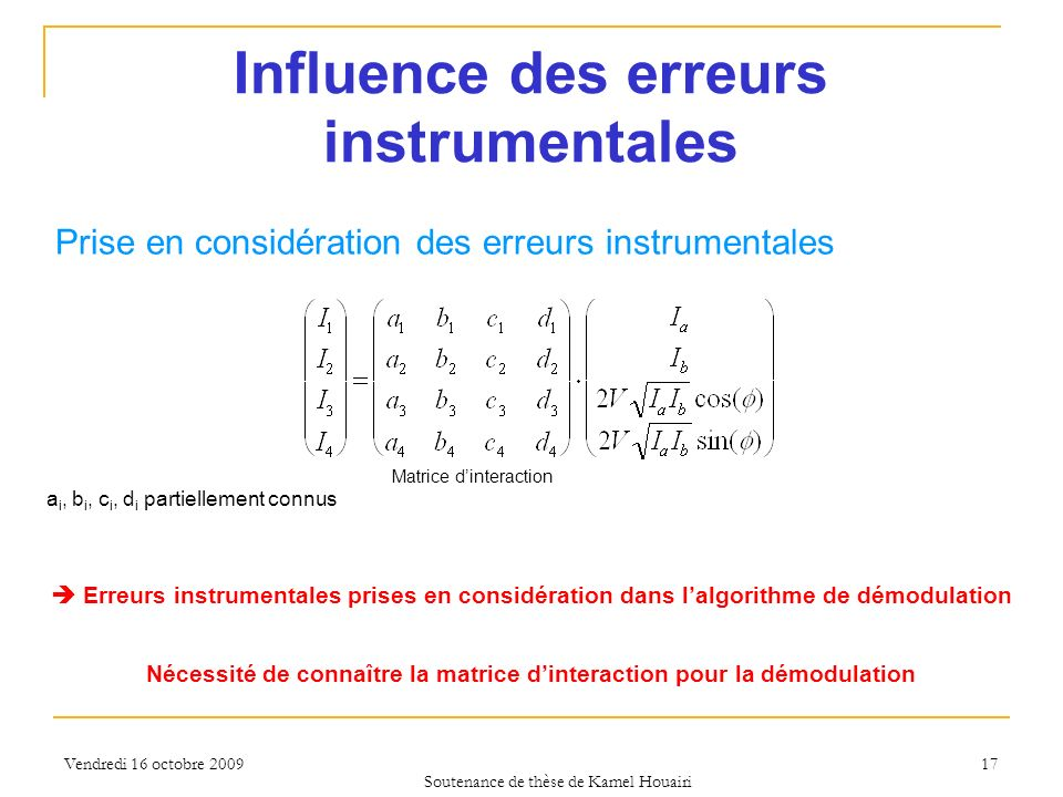 Influence des erreurs instrumentales