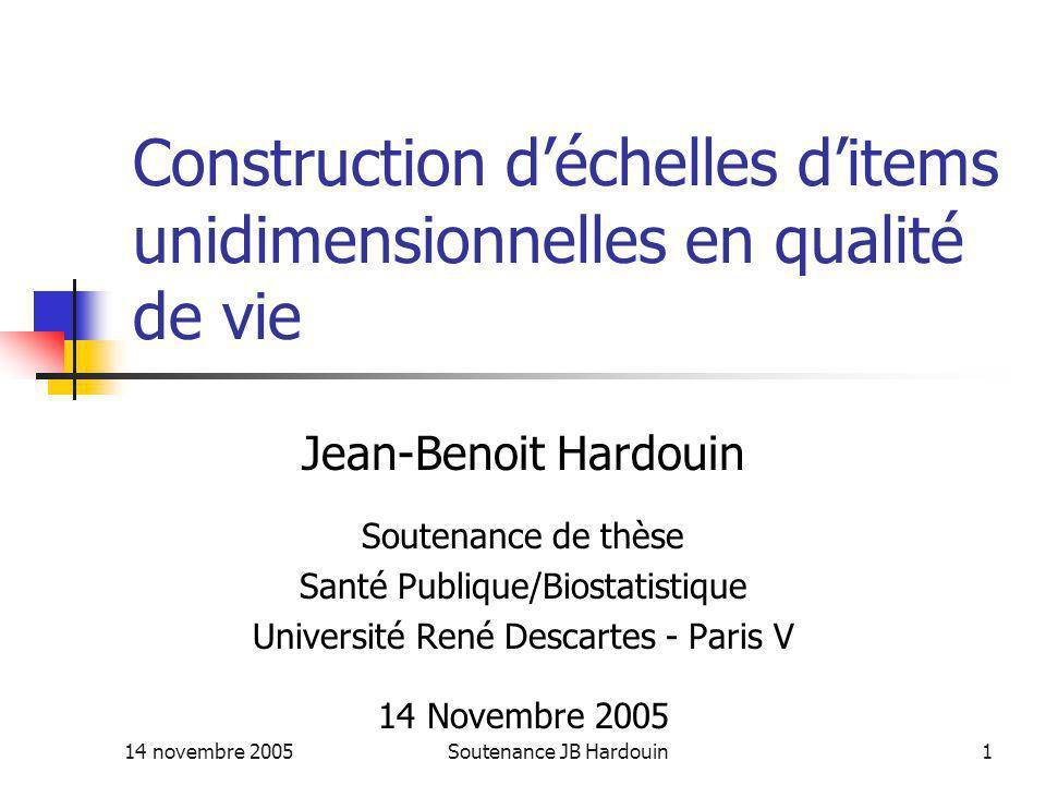 Construction d'échelles d'items unidimensionnelles en qualité de vie