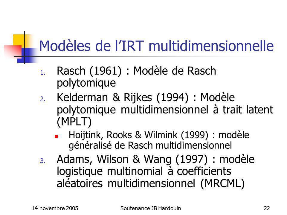 Modèles de l'IRT multidimensionnelle