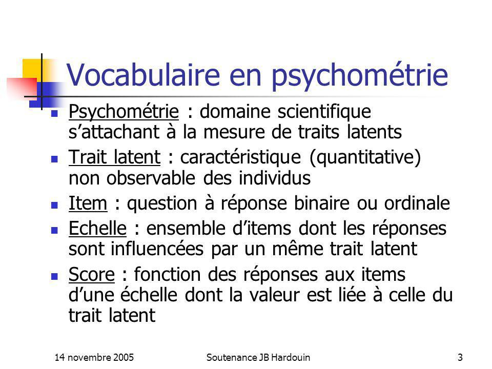 Vocabulaire en psychométrie