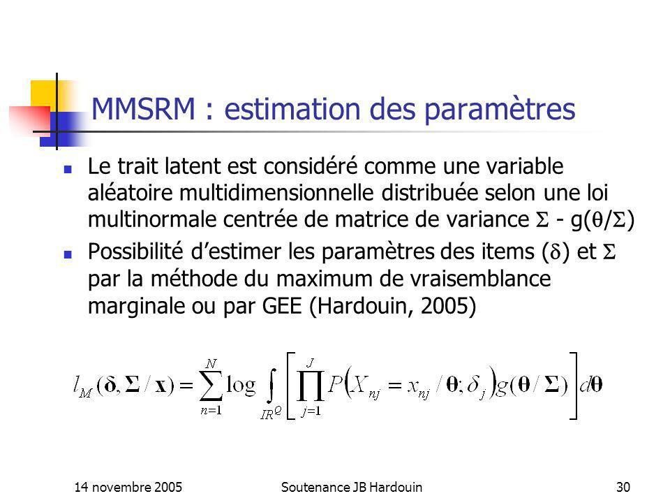 MMSRM : estimation des paramètres