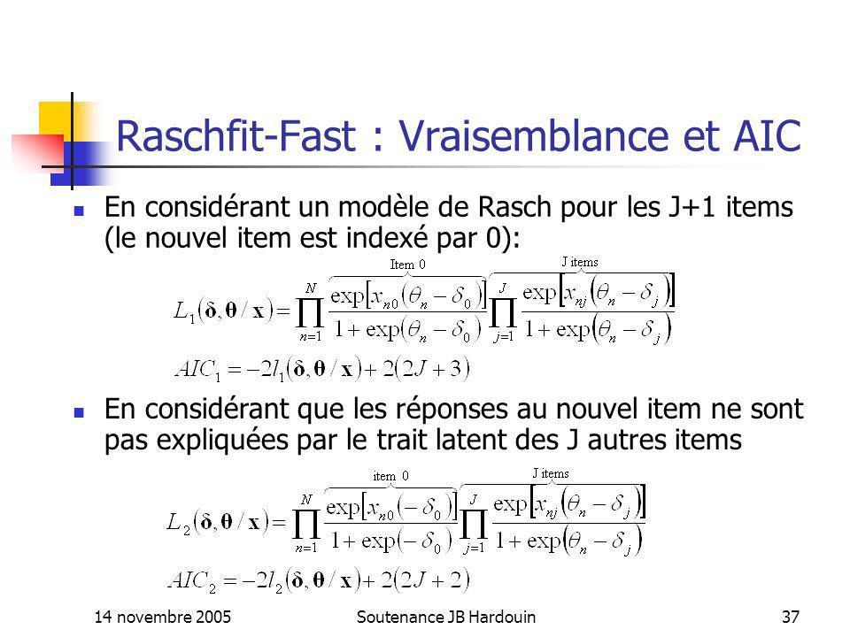 Raschfit-Fast : Vraisemblance et AIC