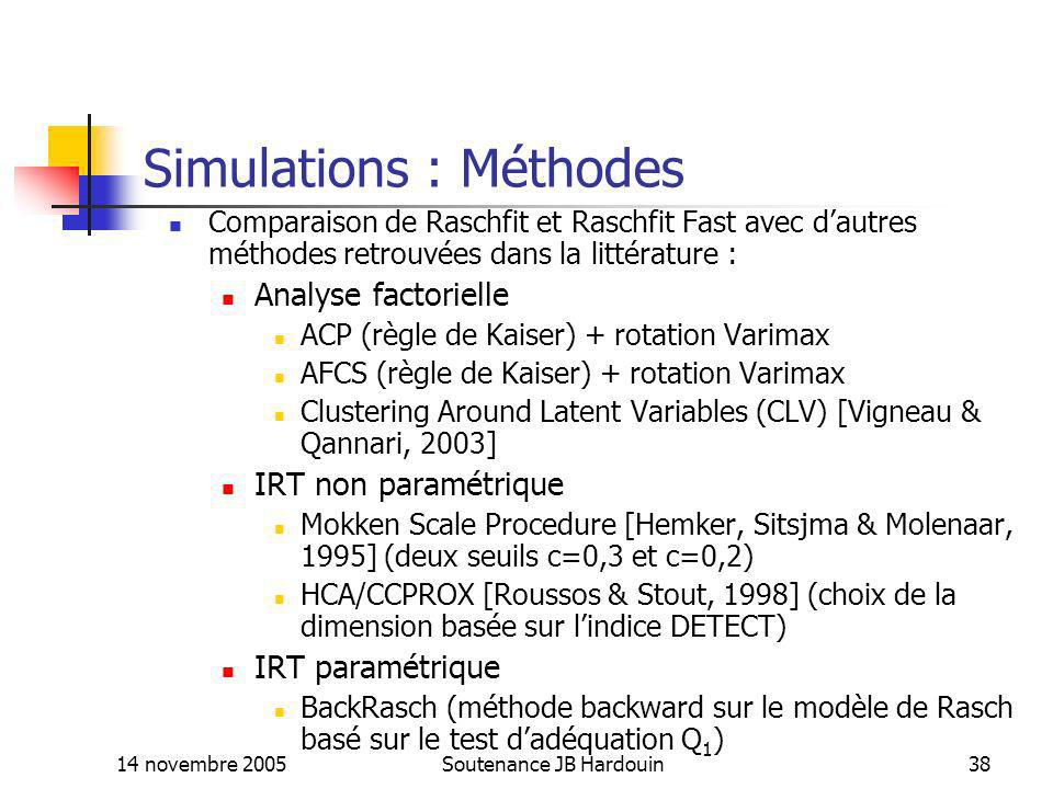 Simulations : Méthodes