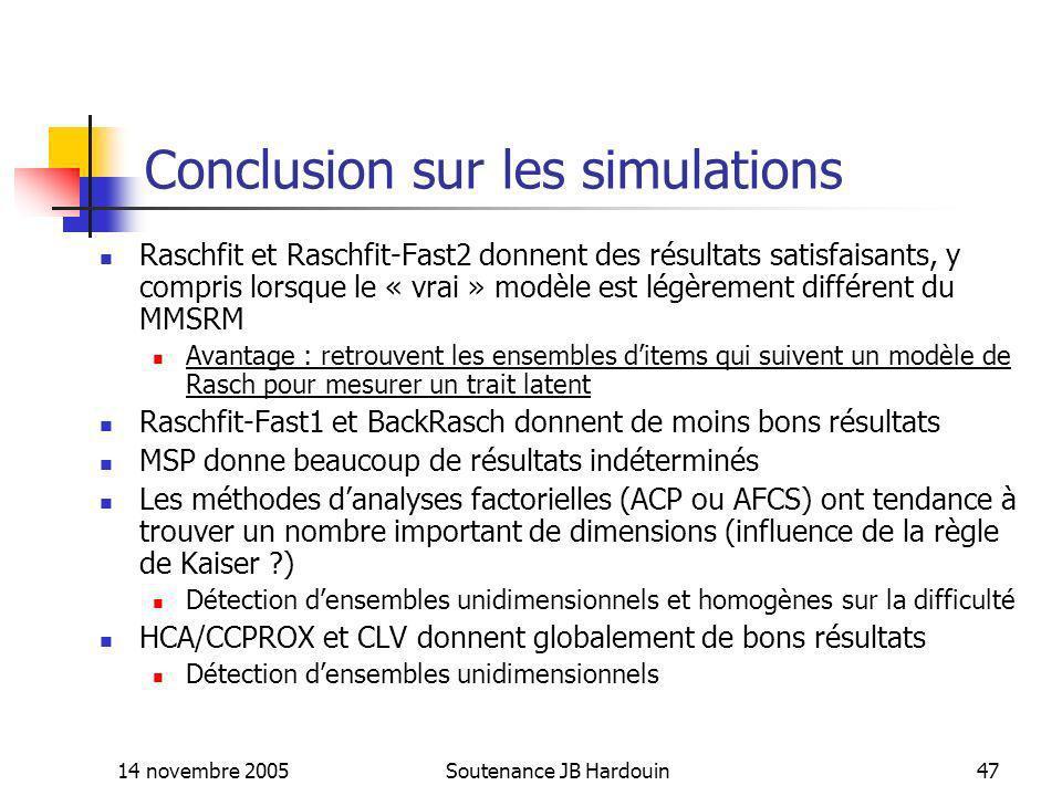 Conclusion sur les simulations