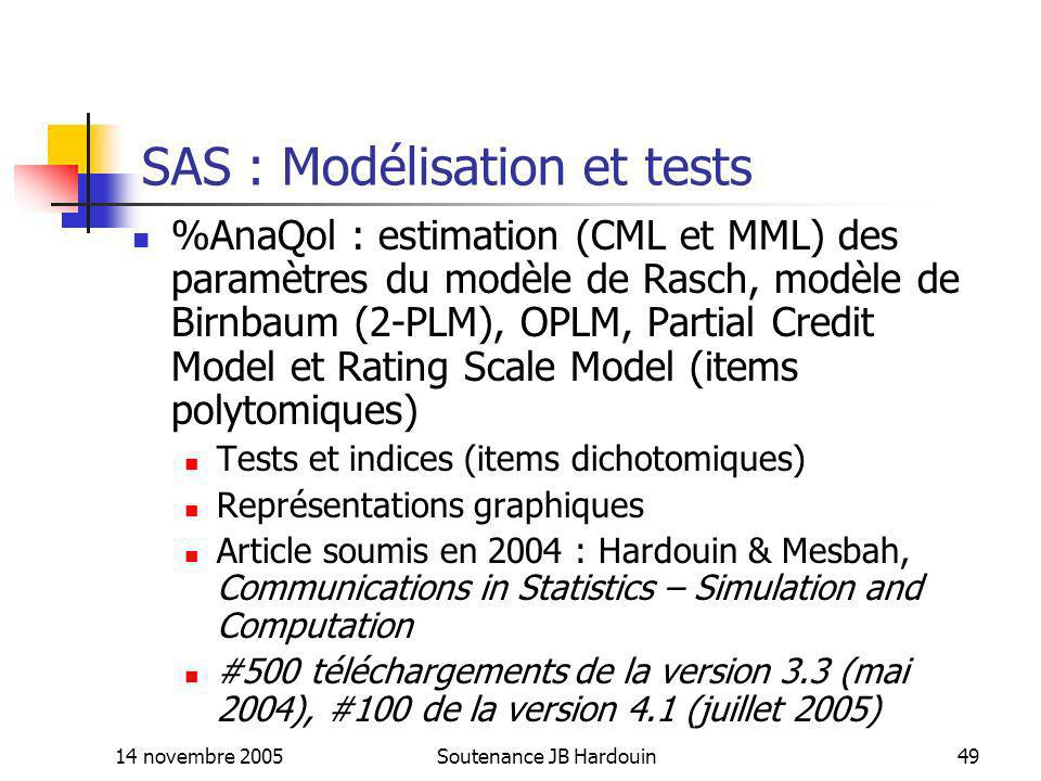 SAS : Modélisation et tests