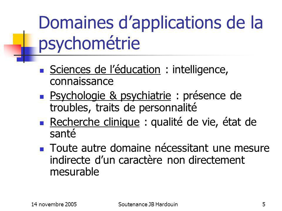 Domaines d'applications de la psychométrie
