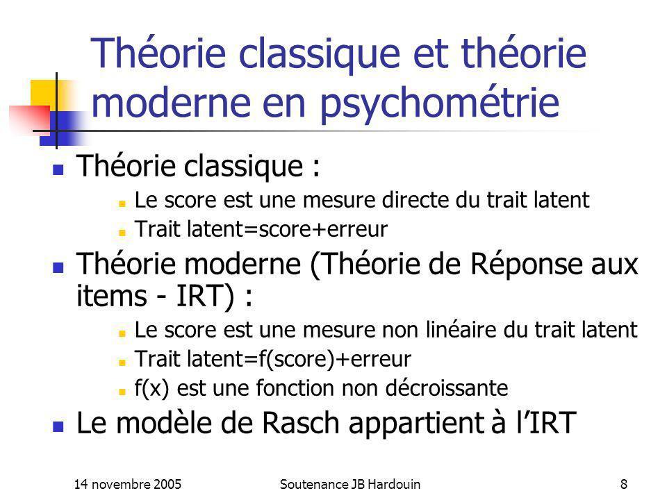 Théorie classique et théorie moderne en psychométrie