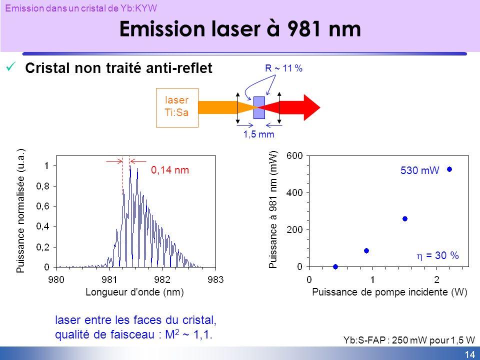 Emission laser à 981 nm Cristal non traité anti-reflet