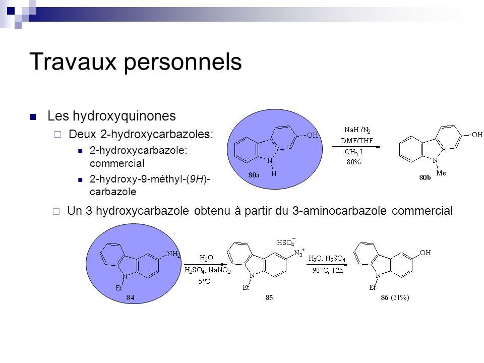 Travaux personnels Les hydroxyquinones Deux 2-hydroxycarbazoles: