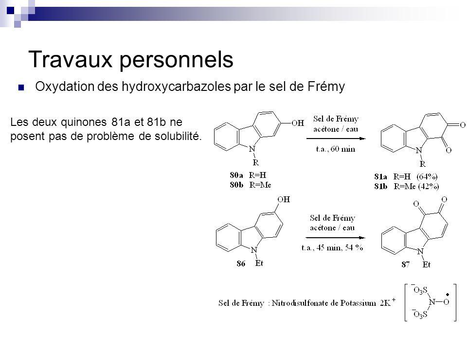 Travaux personnels Oxydation des hydroxycarbazoles par le sel de Frémy