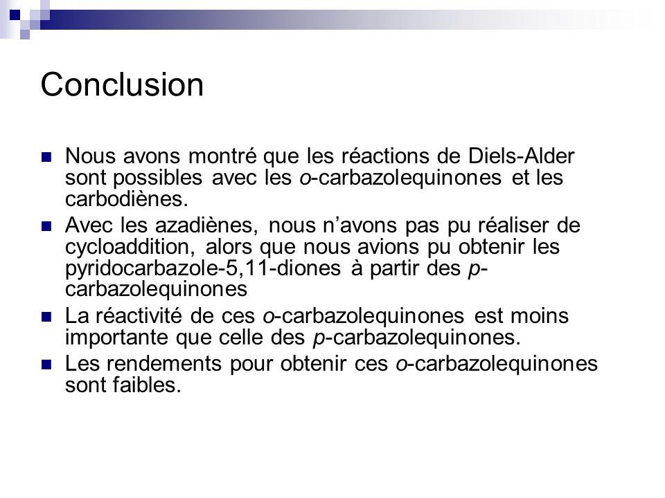 ConclusionNous avons montré que les réactions de Diels-Alder sont possibles avec les o-carbazolequinones et les carbodiènes.