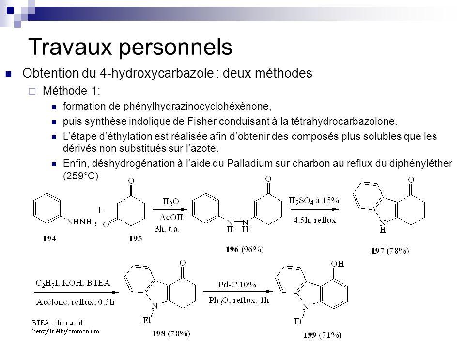 Travaux personnels Obtention du 4-hydroxycarbazole : deux méthodes
