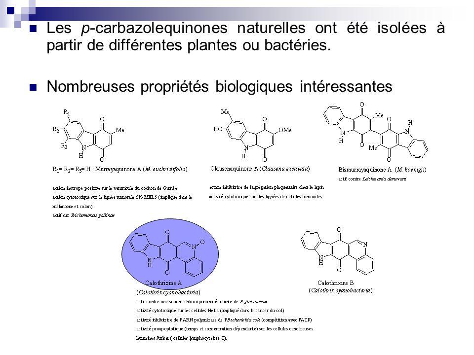 Les p-carbazolequinones naturelles ont été isolées à partir de différentes plantes ou bactéries.