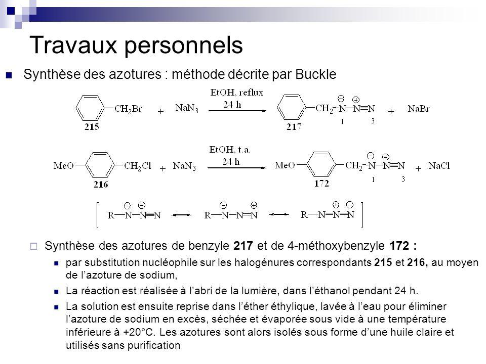 Travaux personnels Synthèse des azotures : méthode décrite par Buckle