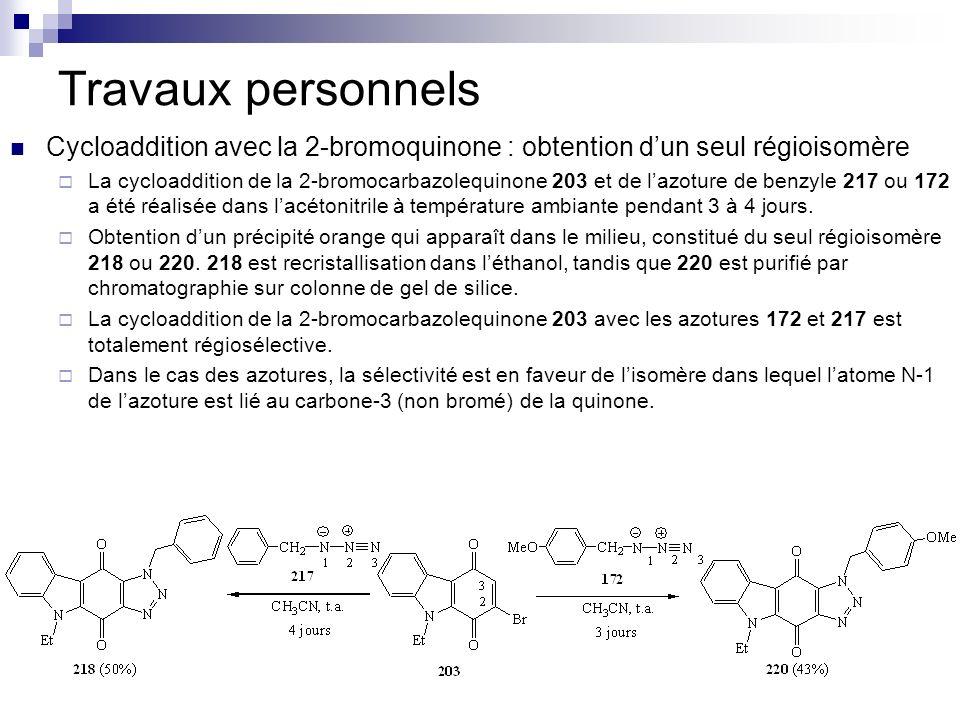 Travaux personnels Cycloaddition avec la 2-bromoquinone : obtention d'un seul régioisomère.