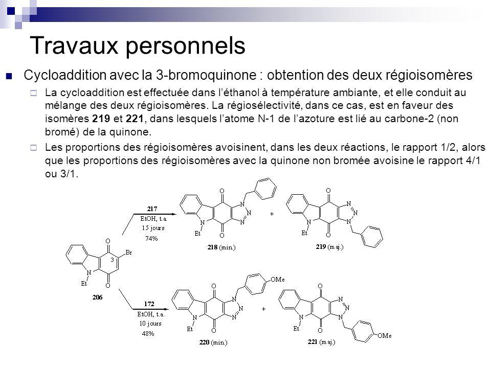 Travaux personnelsCycloaddition avec la 3-bromoquinone : obtention des deux régioisomères.