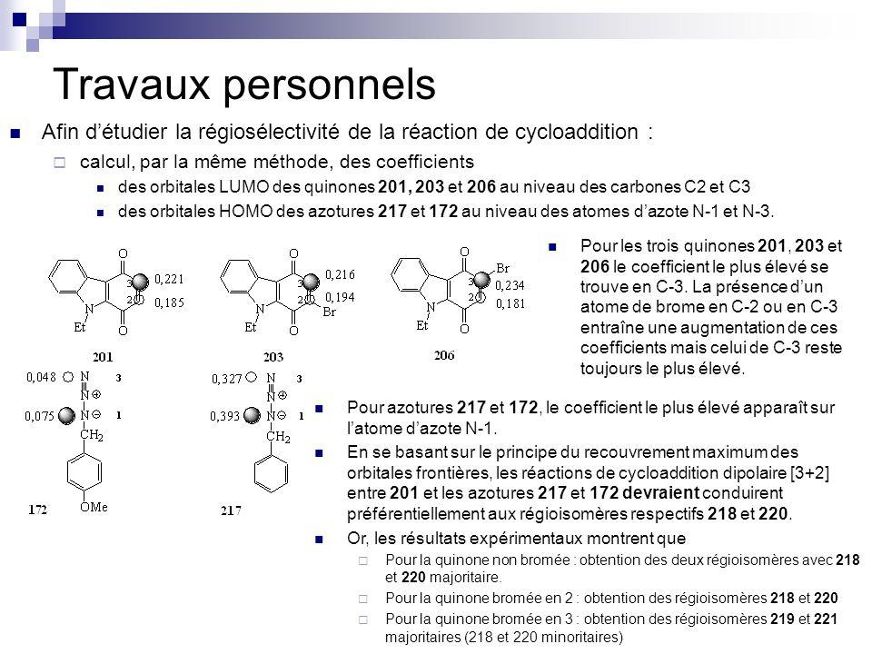 Travaux personnelsAfin d'étudier la régiosélectivité de la réaction de cycloaddition : calcul, par la même méthode, des coefficients.