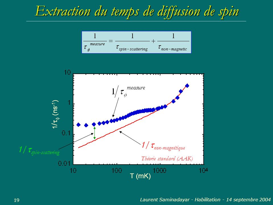 Extraction du temps de diffusion de spin