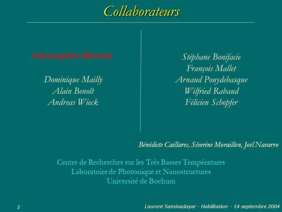 Collaborateurs Christopher Bäuerle Stéphane Bonifacie François Mallet